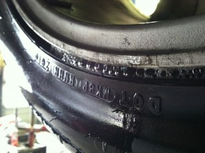 air leaking from the bead of a tire
